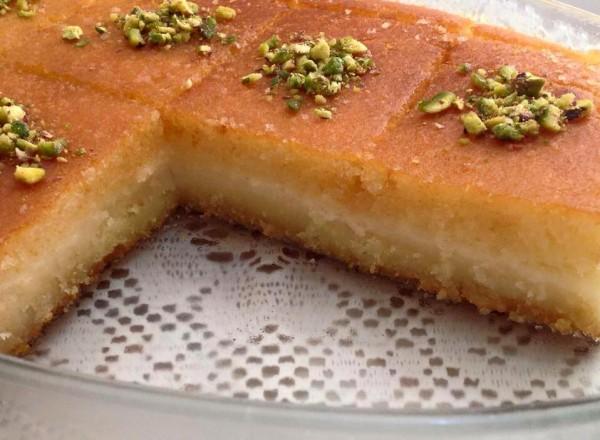 طريقة البسبوسه بالقشطه حلويات رمضان